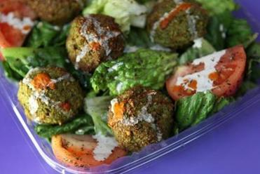 BOSTON, MA -- Jan 11, 2012 -- Long item on Sepal Food Stall, which has new location in Longwood Galleria Food Court -- Falafel plate. (globe staff photo:Joanne Rathe section: food reporter; topic: 25shsepal)
